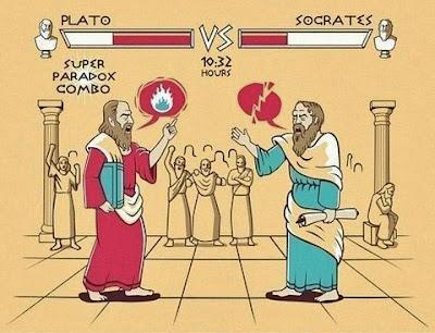 Philosophen streiten Platon und Socrates Cartoon lustig