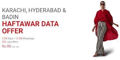 Jazz Karachi, Hyderabad & Badin Haftawar Internet Package