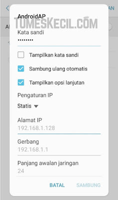 cara mengganti ip address android manual