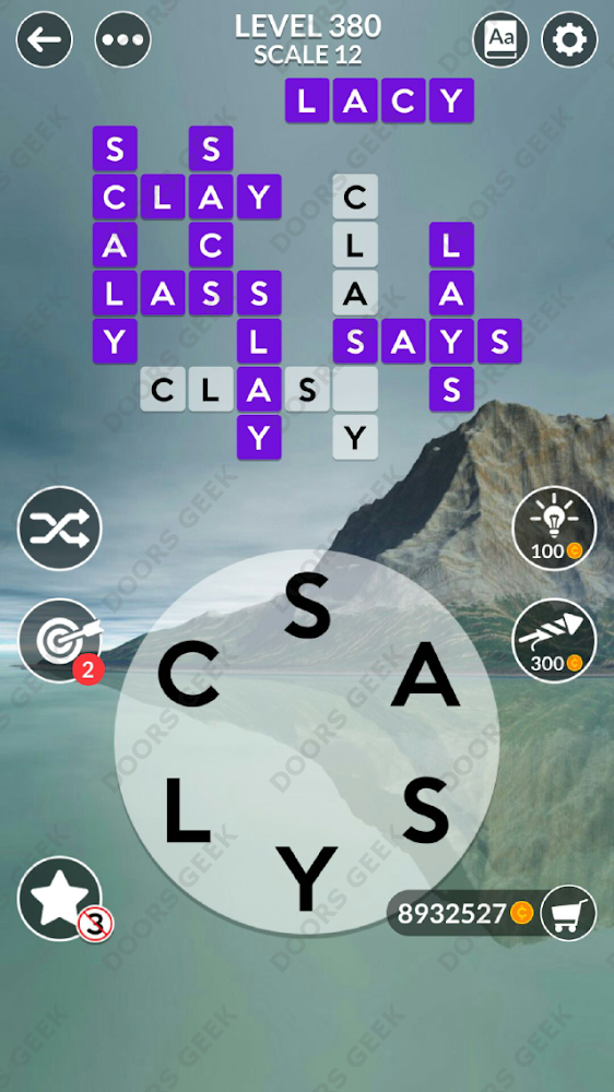 Wordscapes Level 380 answers, cheats, solution for android and ios devices.