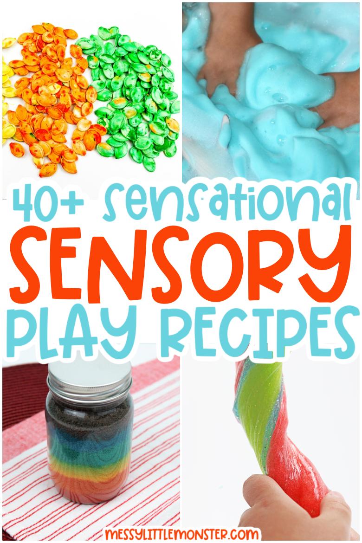 sensory play recipes for kids. messy play recipes. playdough recipes. slime recipes.
