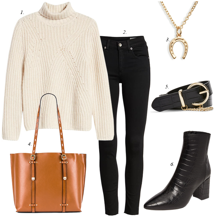 black skinny jeans white chunky sweater black boots black belt