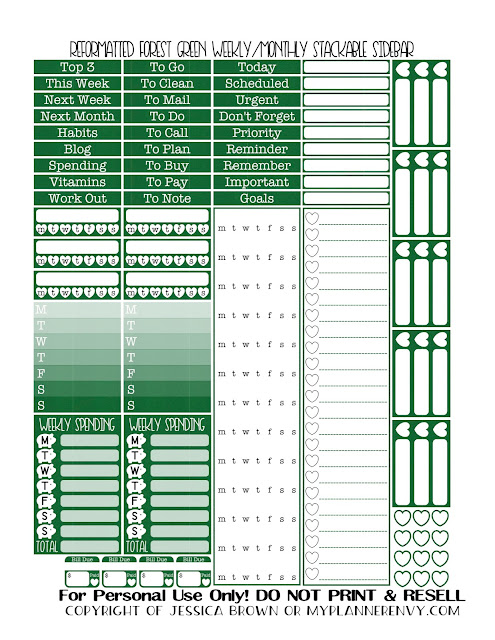 Free Printable Reformatted Monthly/Weekly Stackable Sidebar in Forest Green from myplannerenvy.com