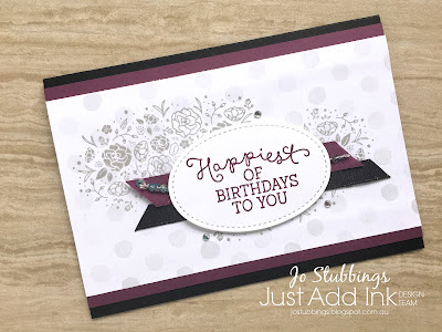 Jo's Stamping Spot - Just Add Ink Challenge #382 using Wood Words and Birthday Blooms by Stampin' Up!