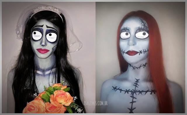 maquiagem da noiva cadáver e sally, de o estranho mundo de jack