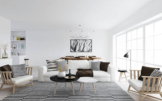 interior ruang keluarga bergaya scandinavia