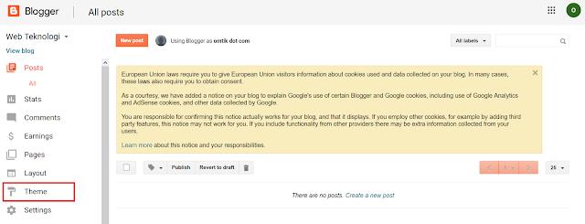 Pilih Menu Theme di Blogger