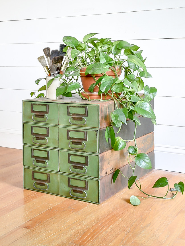 Green painted vintage industrial hardware drawers