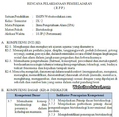 RPP IPA Kelas 9 SMP/MTs Semester 2 K13 Revisi 2019