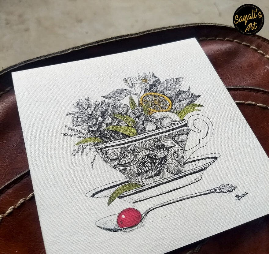 05-Tea-Full-of-Herbs-Sayali-Horambe-Stippling-Dots-and-Creating-Drawings-www-designstack-co