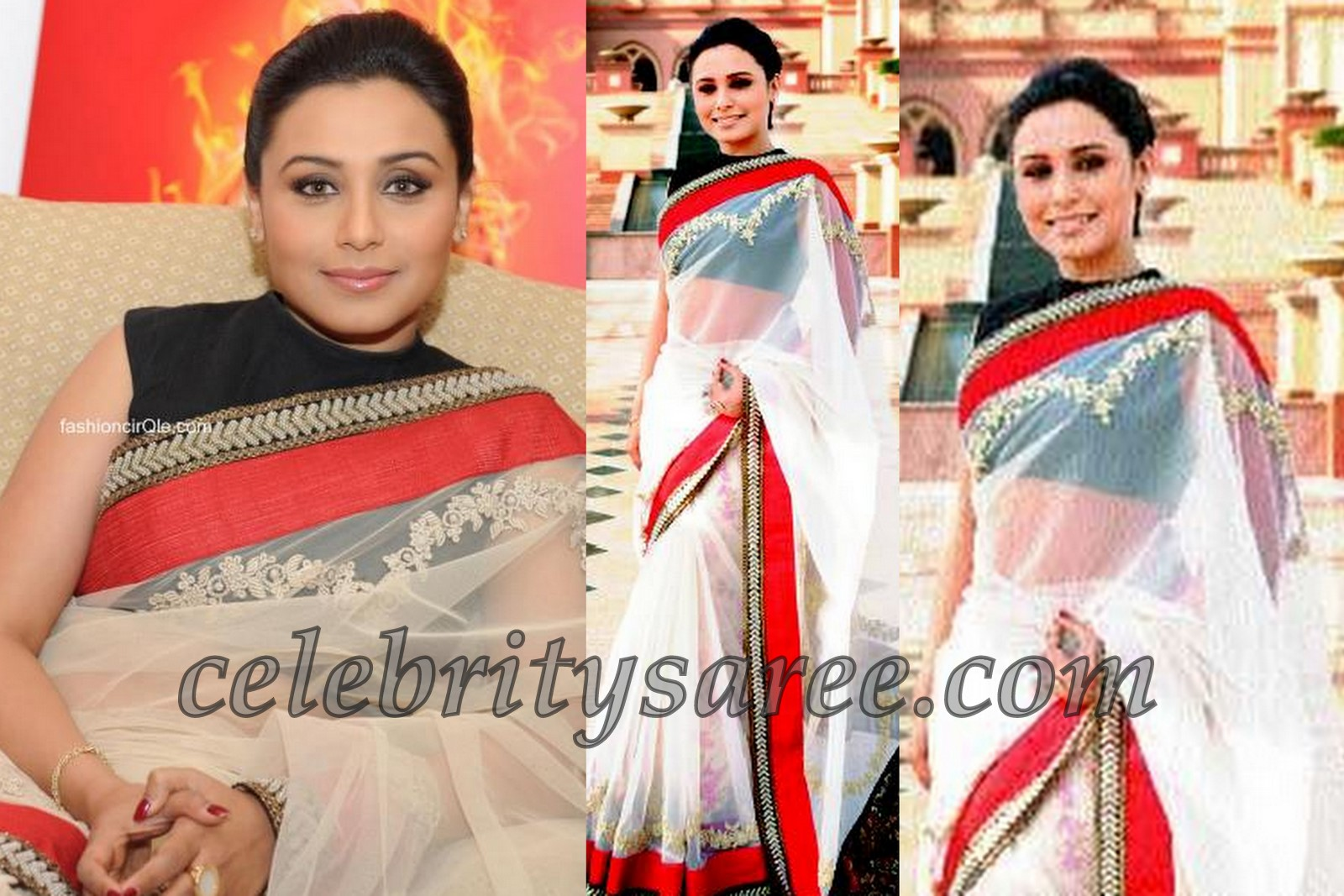 88b5903c3aba2a Rani Mukherjee in Off White Sari with Velvet Blouse - Saree Blouse ...