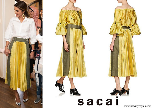 Queen Rania wore SACAI Pleated Midi Skirt