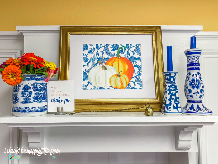 White and Blue Fall Decor