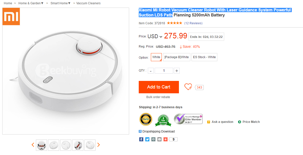 Free Shipping Xiaomi Mi Robot Vacuum Cleaner Robot With