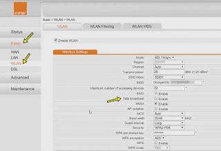 بالصور كيفية اخفاء شبكة الواي فاي لحمايتها من الاختراق Orange