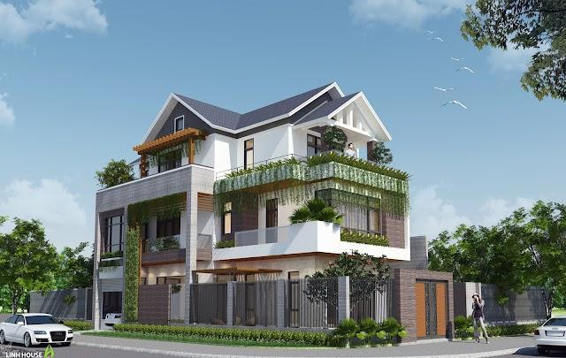 Biệt thự phố 3 tầng mái ngói kèm model su download