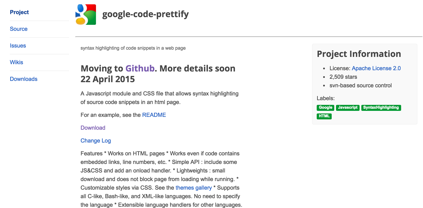 google-code-prettify syntax highlighters for web