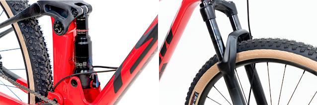 Detalhes da suspensão e shock RockShox da Full Quest Starter -  Foto: TSW Bike / Divulgação