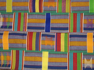 African Logs and Rails Quilt pattern in woven  Kente Cloth from Ghana Africa.