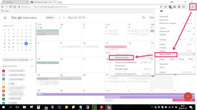 Jak uruchomić Google Kalendarz, jak aplikację - na pulpicie?