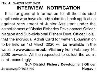 Fisheries Development Officer Nagaon/Hojai Admit