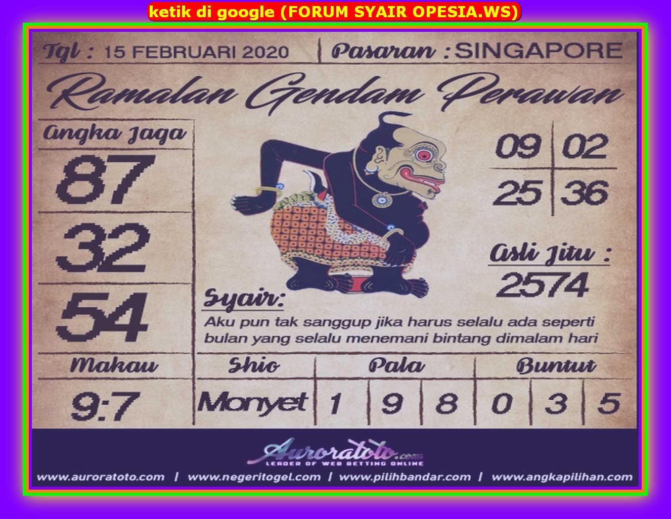 Kode syair Singapore Sabtu 15 Februari 2020 85