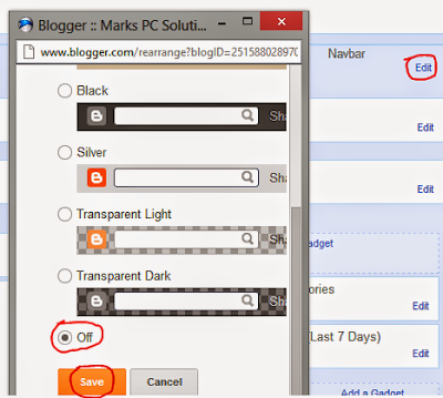 How to turn off or turn on the navigation bar from blogger site