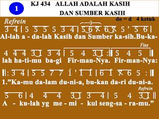 Lirik dan Not Kidung Jemaat 434 Allah Adalah Kasih dan Sumber Kasih