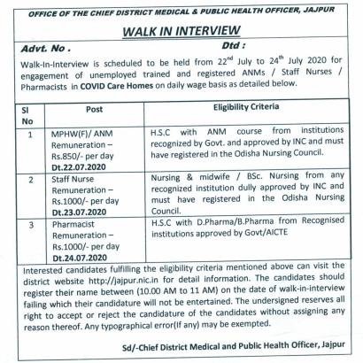 contractual jajpur covid anm jobs odisha