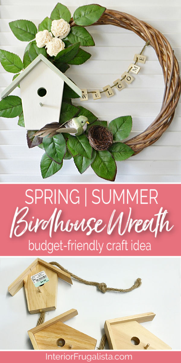 A unique welcoming DIY birdhouse wreath with farmhouse style for Spring And Summer that's easy on the wallet made with thrift store and dollar store finds. #farmhousewreath #summerwreath #welcomewreath