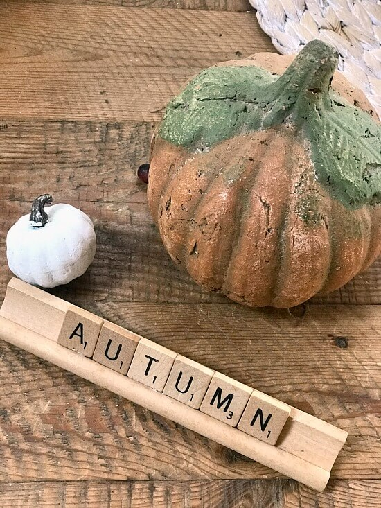 Pumpkins and fall decor to decorate a 3 tiered tray