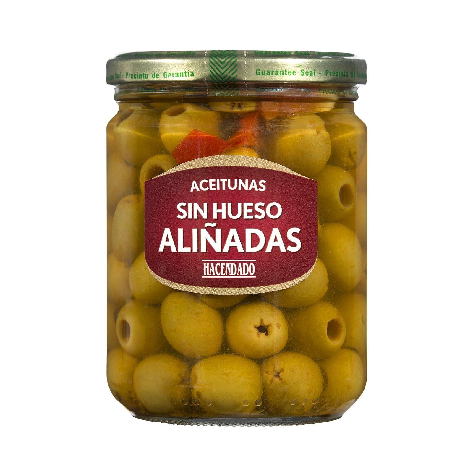 Aceitunas verdes manzanilla sin hueso aliñadas Hacendado