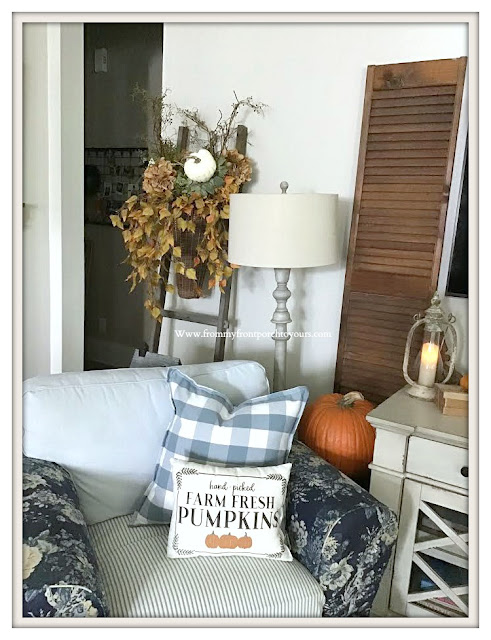 French -Country -Farmhouse-Living -Room- Fall -Decor-Pillow-Pumpkins-From My Front Porch To Yours