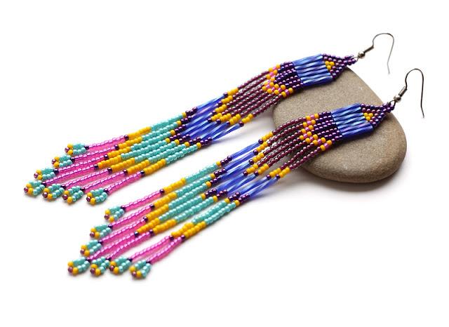 купить длинные серьги из бисера до плеч серрежки ручной работы этно бохо ру