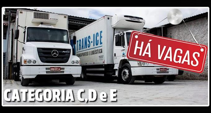 Trans-Ice Transportes Abre vagas para Motorista C,D e E