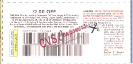 "$2.00/1 Tide Simply Laundry Detergent Or Tide Simply Pods Laundry Detergent 13 Ct+ Or Downy Liquid Fabric Conditioner 40ld Or Bounce/downy Sheets 40-60ct Or Downy Unstopables In-wash Boosters Coupon from ""P&G"" insert week of 7/5/20."