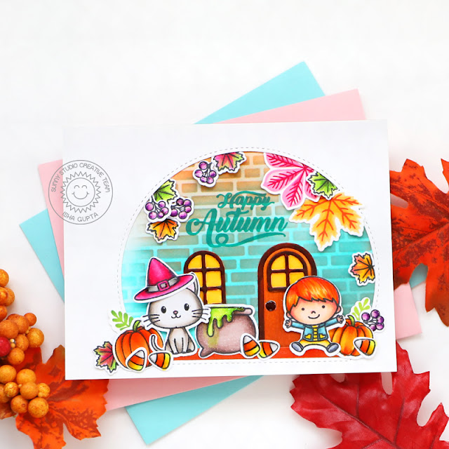 Sunny Studio Stamps: Bewitching Gingerbread House Dies Stitched Semi-Circle Dies Fall Friends Card by Isha Gupta