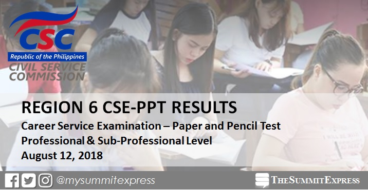 Region 6 List of Passers: August 2018 Civil Service Exam Result CSE-PPT