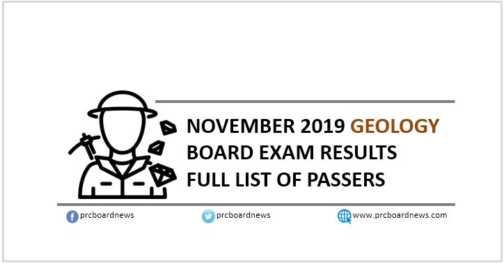 RESULT: November 2019 Geology board exam list of passers