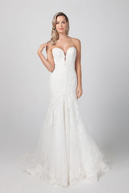 Michelle Roth Strapless Fit and Flare Lace Off-shoulder Bridal Dress