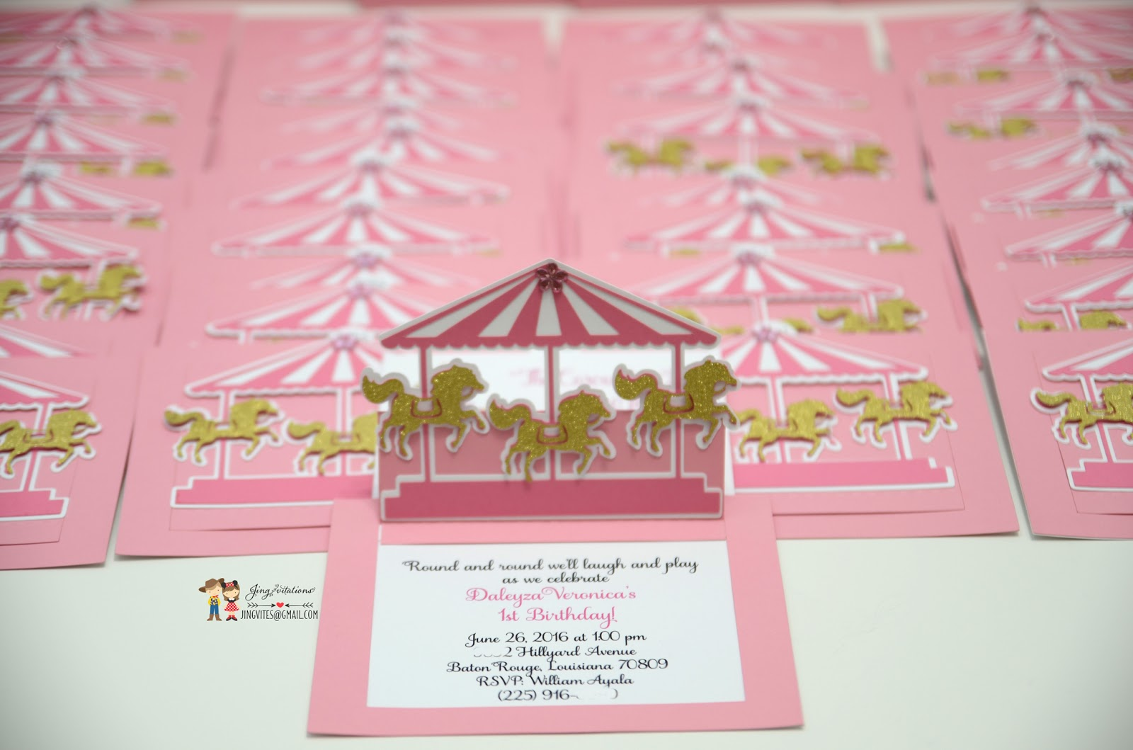 Birthday and Baby Shower Invitations: carousel invitations
