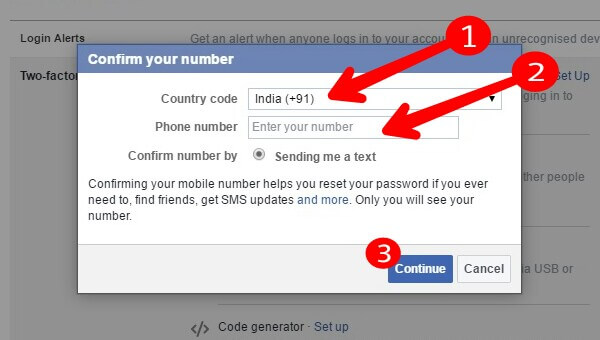 Facebook - Confirm Your Number