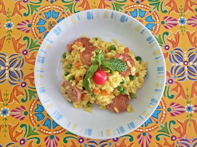 Risoto Vegano de Linguiça de Soja