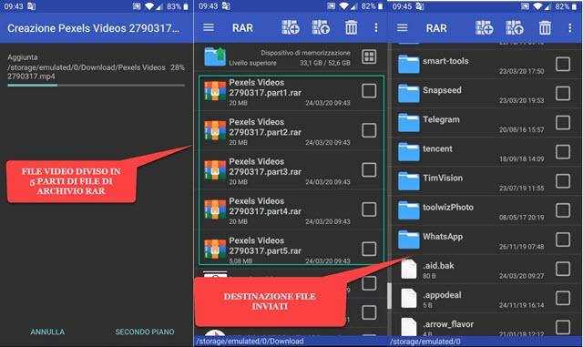video diviso in 5 file di archivio in formato RAR