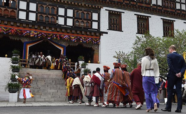 Prince William and Kate Middleton, King Jigme Khesar Namgyel Wangchuck and Queen Jetsun Pema in Thimphu. Kate Middleton wore PAUL and JOE Embroidered Wool Cape