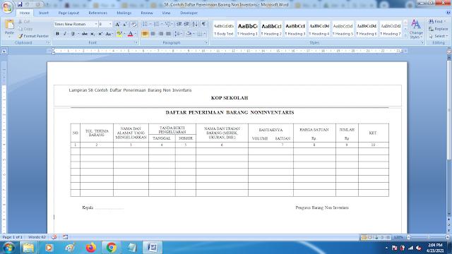 Contoh Daftar Penerimaan Barang Non Inventaris Sekolah Terbaru