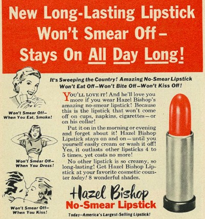 Vintage Ad for Hazel Bishop No Smear Lipstick from Family Circle 1953