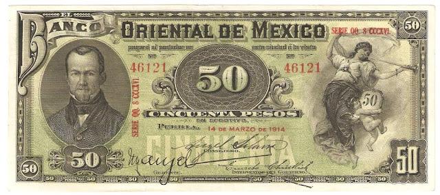 Mexican banknotes 50 Pesos banknote bill Banco Oriental de Mexico