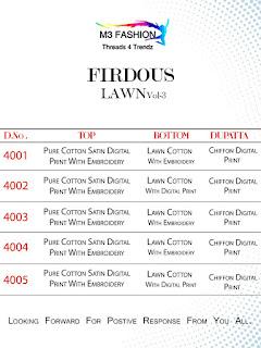 M3 Fashion Firdous lawn 3 Pakistani Suits Wholesaler