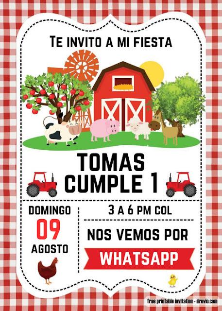 Invitacion Fiesta de animales de granja